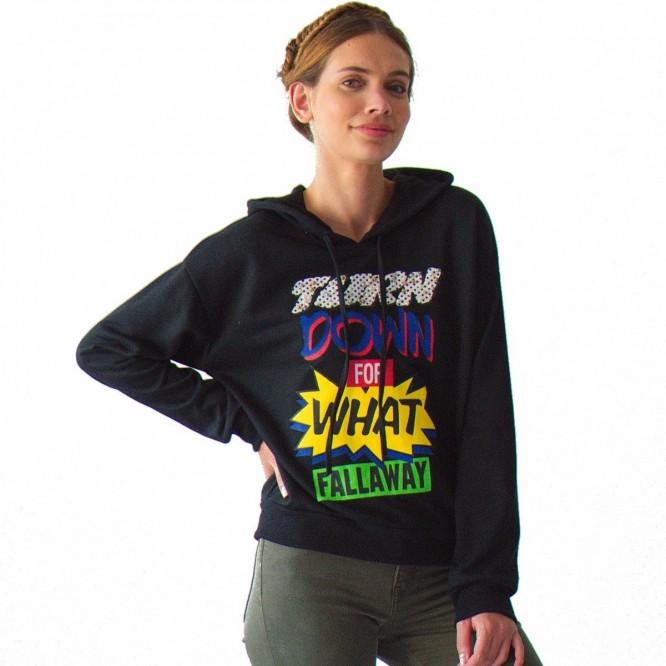 Sudadera Mujer Con Gorro Estampado Tipo Comic Rack & Pack