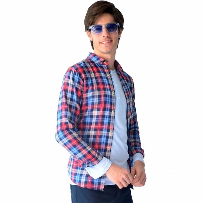 Camisa Casual Hombre Cuadro Grande Slim Fit Rack & Pack