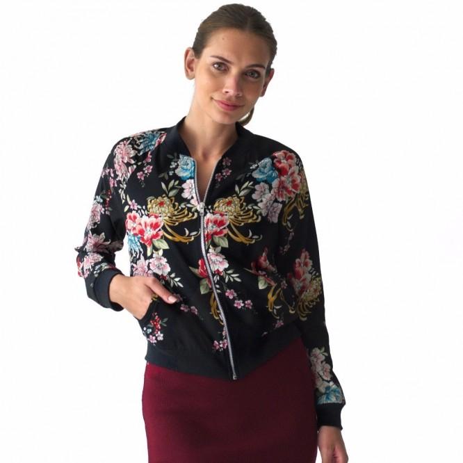 Chamarra Mujer Blusa Ligera Bomber Jacket Flores Rack & Pack