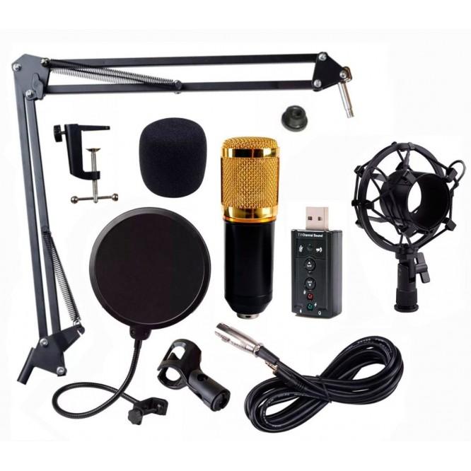 Kit Microfono Condensador Bm800 Tarjeta Usb Youtuber Negro