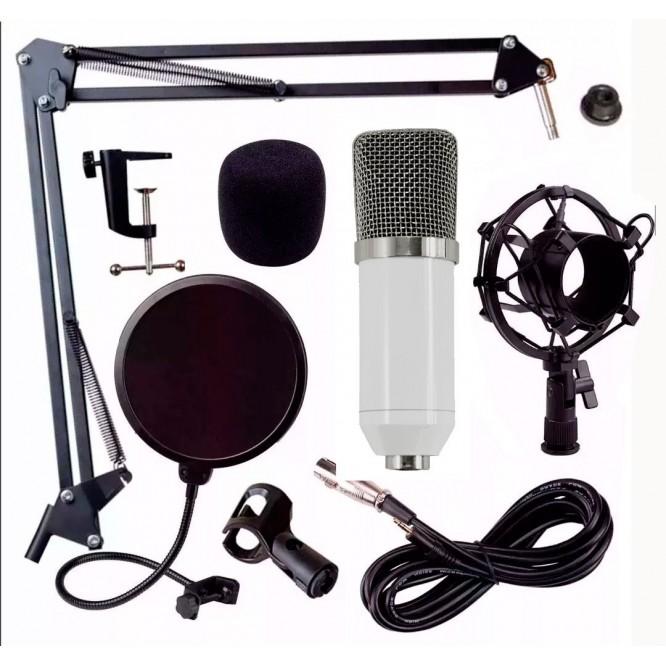 Kit Microfono Condensador Bm700 Youtuber Blanco