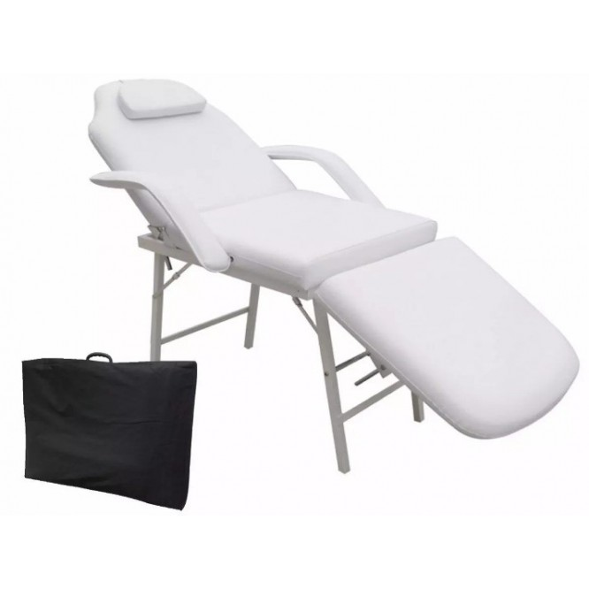 Silla Reclinable Faciales Cama Sillón Masaje Spa Blanco