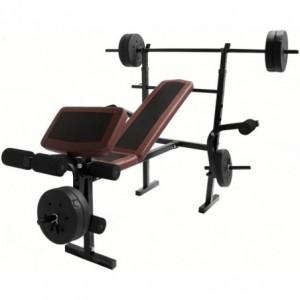 Comprar Set de Barra con Banco para Pesas Centurfit Ejercicio Discos 10lbs Barra Recta Gym