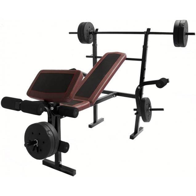 Set Barra Banco Pesas Centurfit Ejercicio Barra Recta Gym