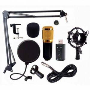 Comprar Set Microfono Condensador Usb Youtuber Tarjeta Negro