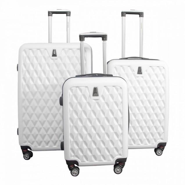 Maletas Set Kit 3 Rigidas Viaje Vacaciones Maleta Blanco