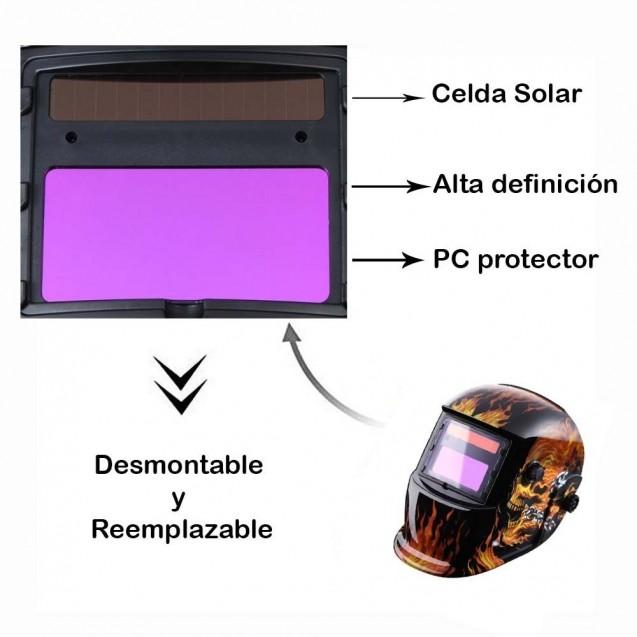 sin bater/&ia Casco de soldadura autom/ático Bater/ía solar AAA M/áscara de pintura para autom/óvil Reemplazo con funci/ón de atenuaci/ón autom/ática en la cabeza para todas las t/écnicas de soldadura comunes
