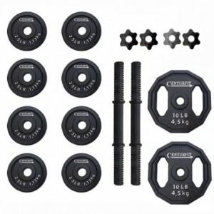 Comprar Kit Mancuernas Set Pesas Discos Ajustadores Barra Centurfit Negro 40 Lbs