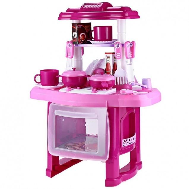 Cocina Infantil Niña Electronico Sonido Luz Accesorios Rosa