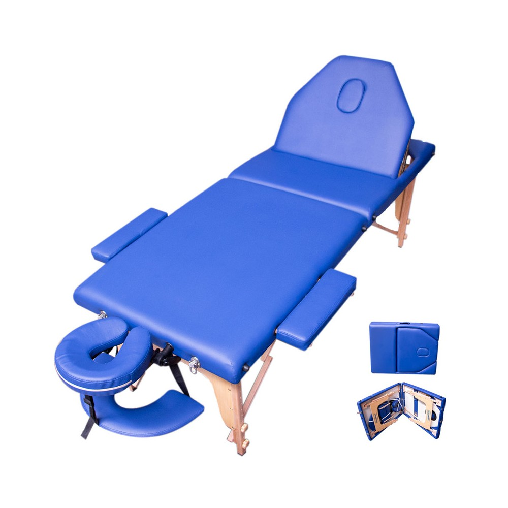 Cama Masaje Spa Reclinable Estuche Portatil Profesional Azul