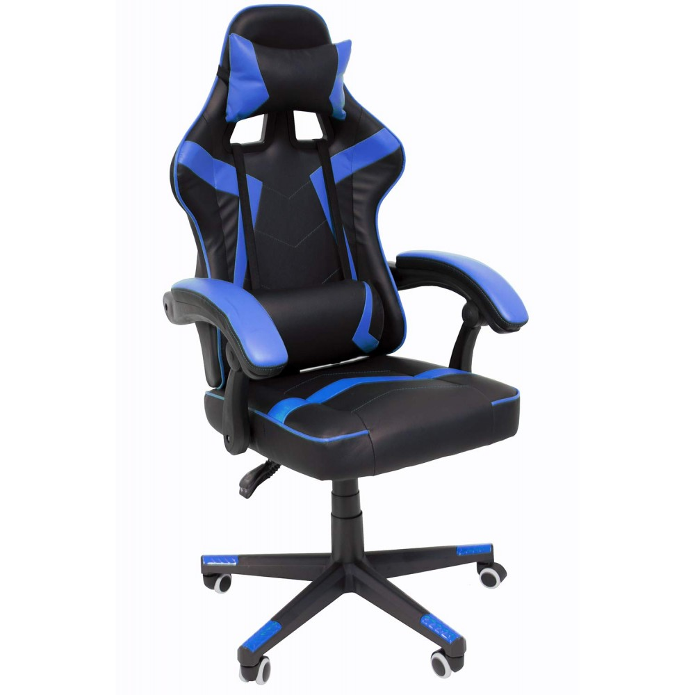 Silla Gamer Audiotek Gaming Azul Ergonomica Reclinable