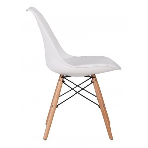 Silla Eames Comedor Moderno Cojin Vintage Madera Jardin Blanco imagen secundaria