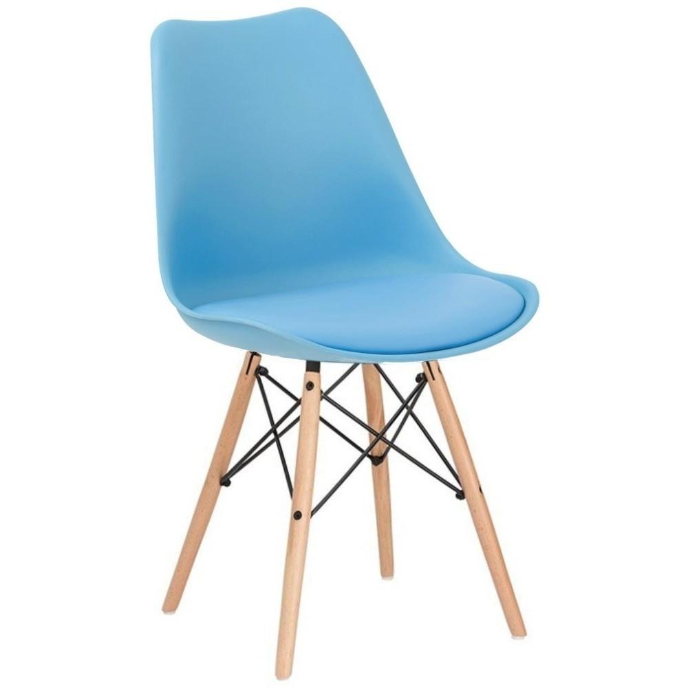 Silla Eames Comedor Moderno Cojin Vintage Madera Jardin Azul