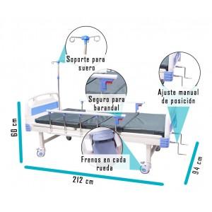 Cama Hospitalaria Manual Envío Gratis + Colchón Porta Suero imagen secundaria