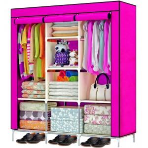 Comprar Closet Organizador 3 Puertas Compartimientos Perchero Rosa
