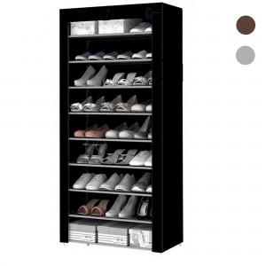 Comprar Zapatera Organizador 9 Niveles Compartimientos Metal Negro