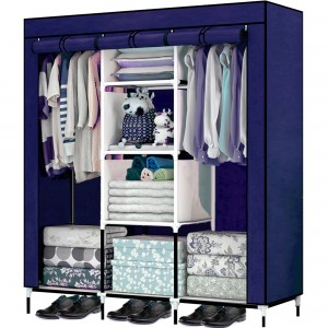 Comprar Closet Organizador 3 Puertas Compartimientos Perchero Azul