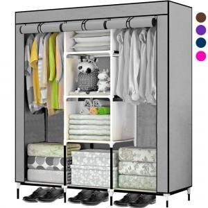 Comprar Closet Organizador 3 Puertas Compartimientos Perchero Gris