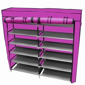 Zapatera Organizador 36 pares Compartimientos Metal Rosa imagen secundaria