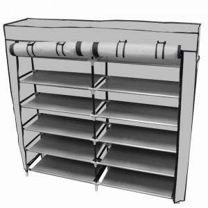 Zapatera Organizador 36 pares Compartimientos Metal Gris imagen secundaria