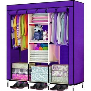 Comprar Closet Organizador 3 Puertas Compartimientos Perchero Morado