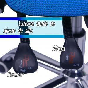 Silla Oficina Sillon Ejecutivo Reclinable Ergonomico Azul imagen secundaria