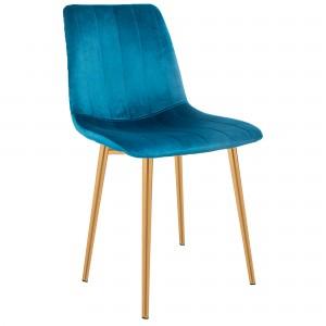 Comprar Silla Eames Tapizada Recta Minimalista Pata Dorada Azul