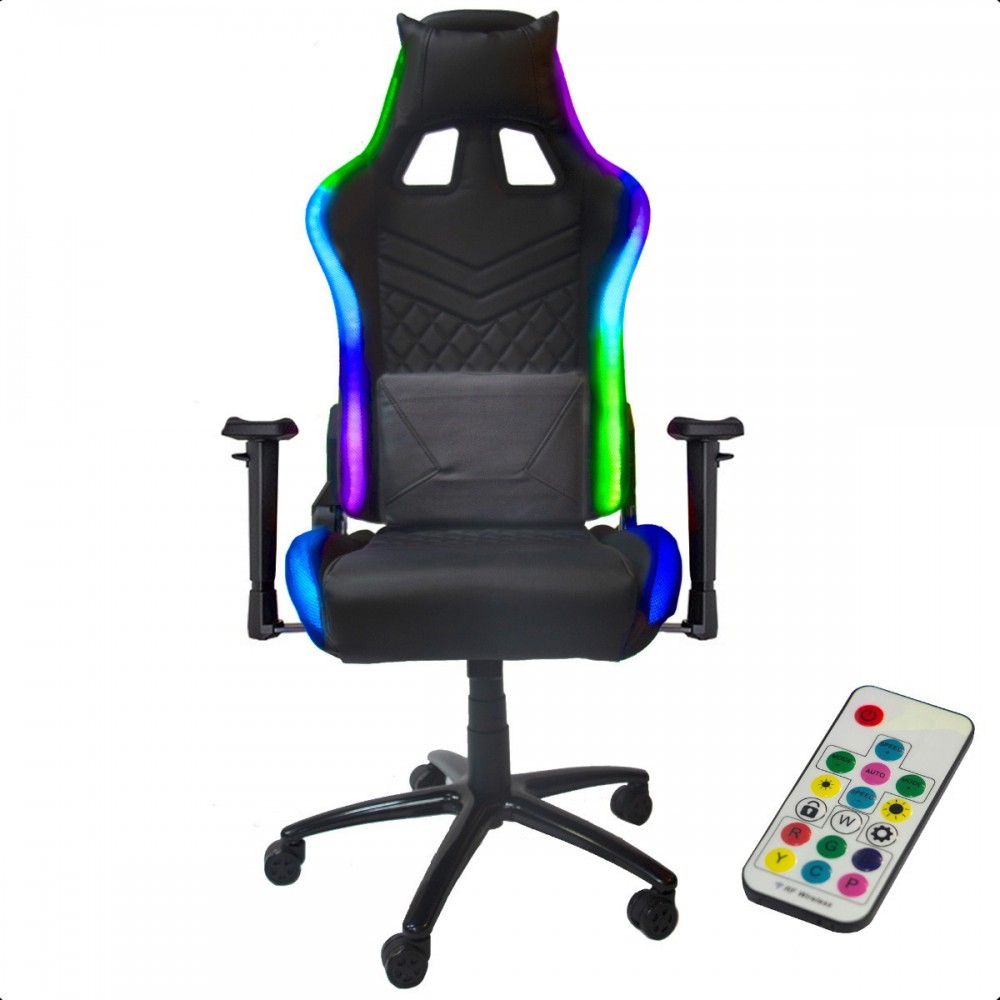Silla Gamer Gaming Ergonomica Reclinable Luz Led Rgb Luces