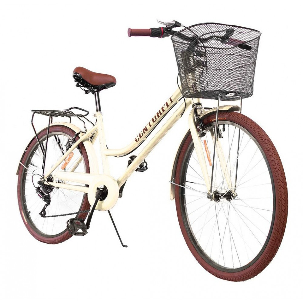 Bicicleta Vintage Menta Retro 7vel, 26r Canasta Frenos