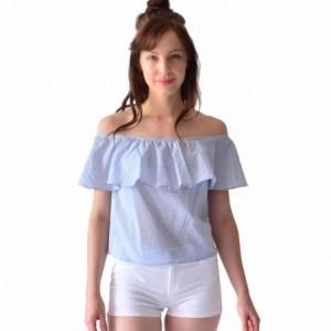 Comprar Blusa Mujer Algodón Con Olanes Rack & Pack Azul Y Rosa