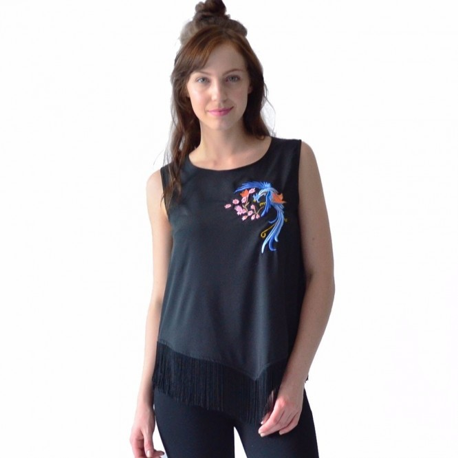 Blusa Mujer Rack & Pack Color Negro Diseño Dragon