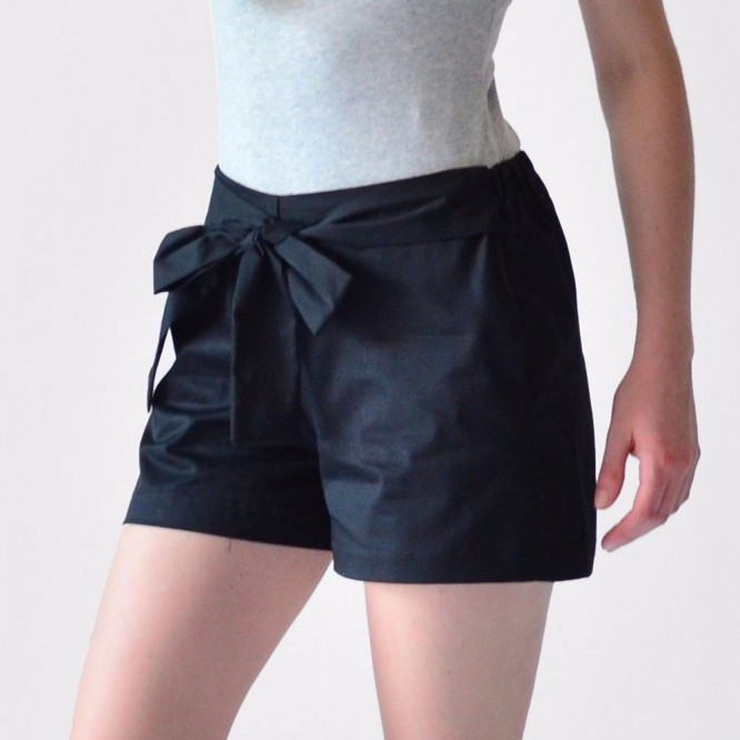 Short Mujer Rack & Pack Gris Y Negro Con Moño