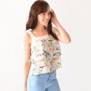 Blusa Mujer Con Olanes Rack & Pack Estampada En Flores Beige imagen secundaria