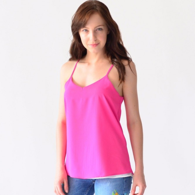 Blusa Tirantes Mujer Rack & Pack Doble Vista Fucsia Y Blanco