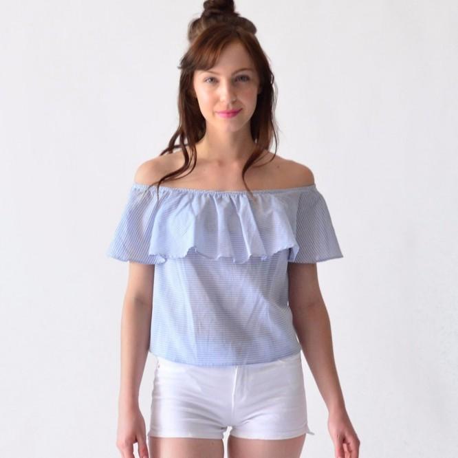 Blusa Mujer Algodón Con Olanes Rack & Pack Azul Rayas