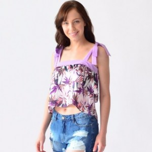 Blusa Mujer Con Olanes Rack & Pack Estampada En Flores Lila imagen secundaria