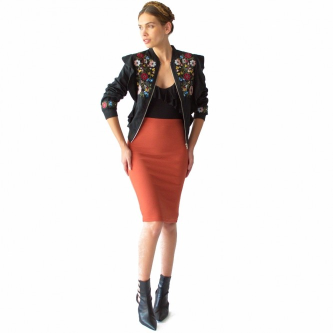 Falda Mujer Cintura Tubo Lapiz Strech Rack & Pack Salmón