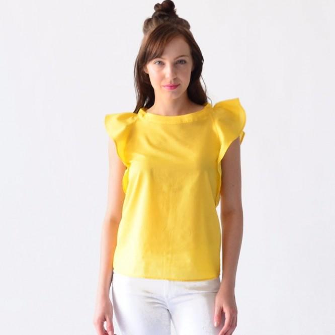 Blusa Mujer Rack & Pack Algodón Amarillo Olanes